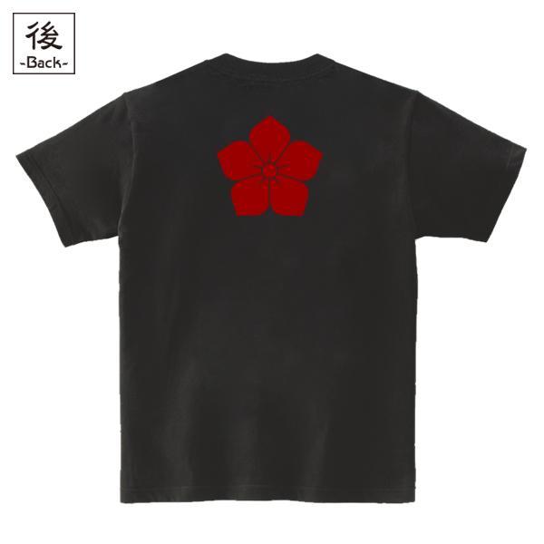 和柄,和柄服,むかしむかし,大きいサイズ,Tシャツ,キッズ,半袖,明智桔梗家紋,バックプリント