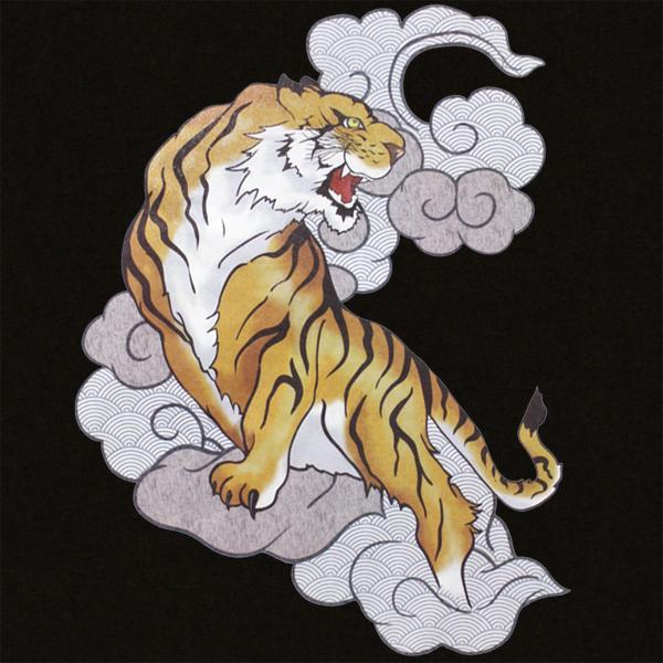 和柄,和柄服,むかしむかし,大きいサイズ,Tシャツ,キッズ,長袖,雲虎,バックプリント