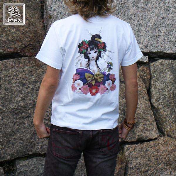 和柄,和柄服,むかしむかし,大きいサイズ,Tシャツ,メンズ,半袖,華芸者,バックプリント