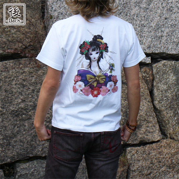 和柄,和柄服,むかしむかし,大きいサイズ,Tシャツ,レディース,半袖,華芸者,バックプリント