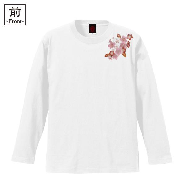 和柄,和柄服,むかしむかし,大きいサイズ,Tシャツ,レディース,長袖,鳥獣戯画_梅桜踊,バックプリント