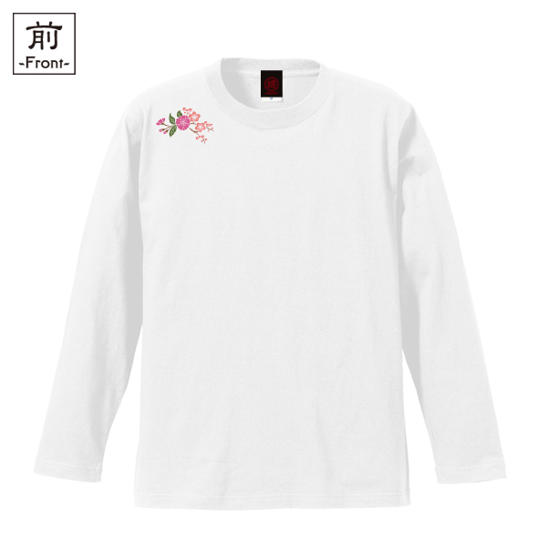 和柄,和柄服,むかしむかし,大きいサイズ,Tシャツ,キッズ,長袖,梅折枝桜,バックプリント