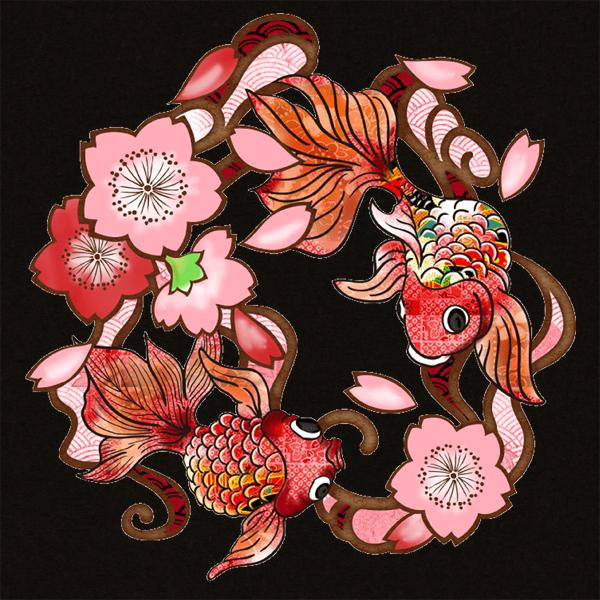 和柄,和柄服,むかしむかし,大きいサイズ,Tシャツ,メンズ,長袖,桜金魚,バックプリント