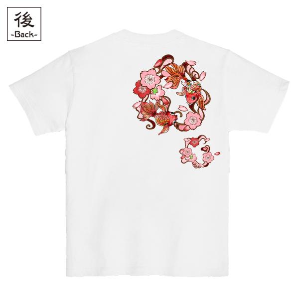 和柄,和柄服,むかしむかし,大きいサイズ,Tシャツ,レディース,半袖,桜金魚,バックプリント
