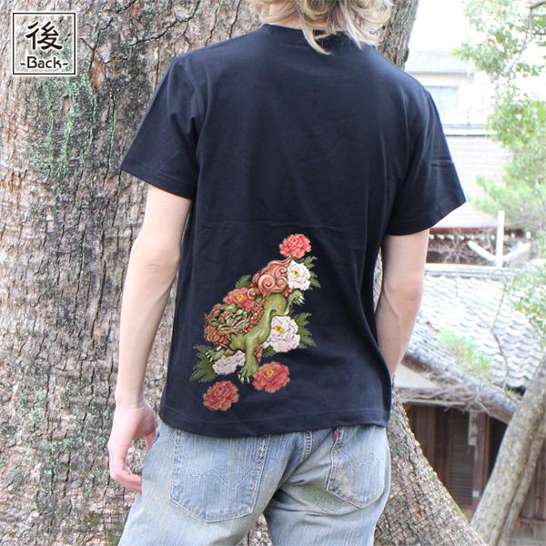 和柄,和柄服,むかしむかし,大きいサイズ,Tシャツ,キッズ,半袖,唐獅子牡丹,バックプリント