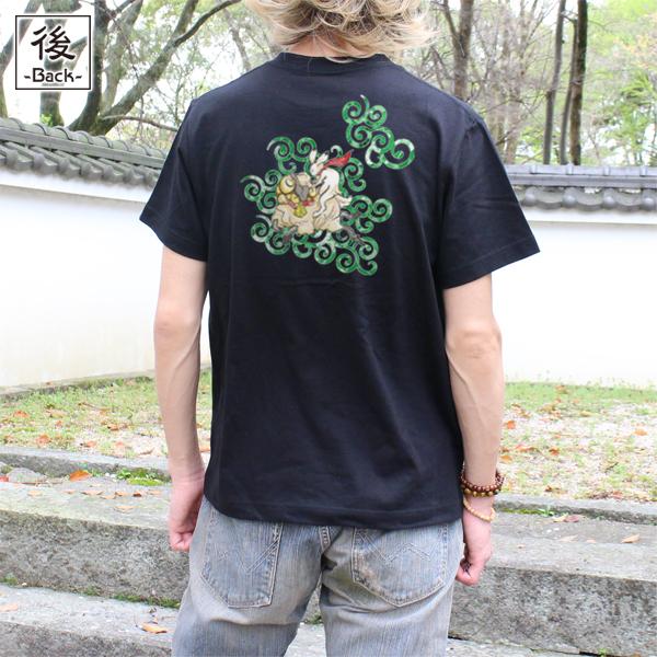 和柄,和柄服,むかしむかし,大きいサイズ,Tシャツ,メンズ,半袖,唐草羊戯画,バックプリント