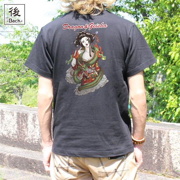 和柄,和柄服,むかしむかし,大きいサイズ,Tシャツ,レディース,半袖,龍神芸者
