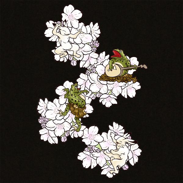 和柄,和柄服,むかしむかし,大きいサイズ,Tシャツ,キッズ,長袖,鳥獣戯画_桜酒宴