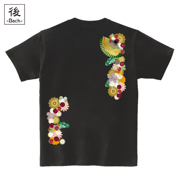 和柄,和柄服,むかしむかし,大きいサイズ,Tシャツ,メンズ,半袖,和花扇紋様