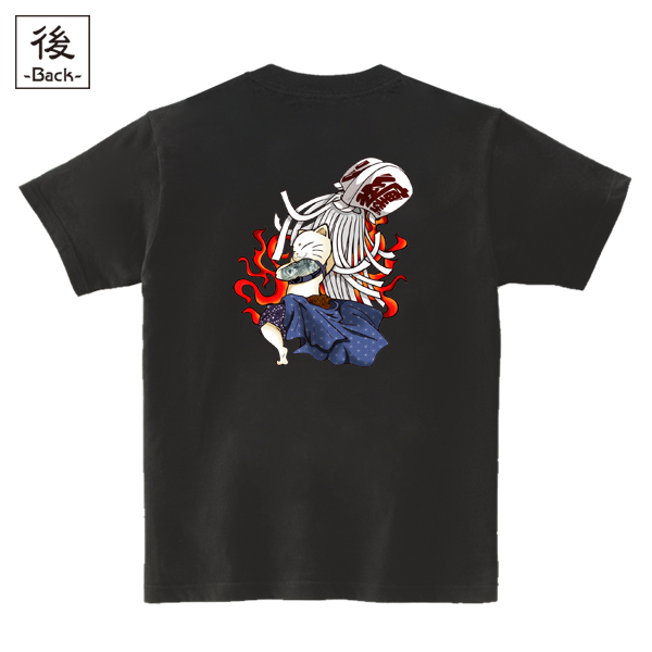 和柄,和柄服,むかしむかし,大きいサイズ,Tシャツ,レディース,半袖,火消し猫