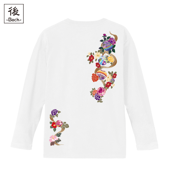 和柄,和柄服,むかしむかし,大きいサイズ,Tシャツ,メンズ,長袖,華鞠紋様