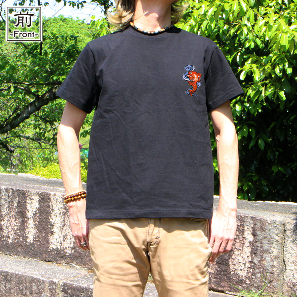 和柄,和柄服,むかしむかし,大きいサイズ,Tシャツ,キッズ,半袖,流水金魚