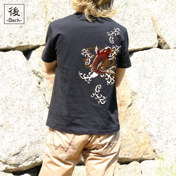 和柄,和柄服,むかしむかし,大きいサイズ,Tシャツ,メンズ,半袖,紅暴れ鯉
