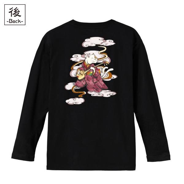 和柄,和柄服,むかしむかし,大きいサイズ,Tシャツ,キッズ,長袖,ねこまた