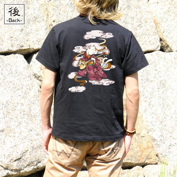 和柄,和柄服,むかしむかし,大きいサイズ,Tシャツ,メンズ,半袖,ねこまた