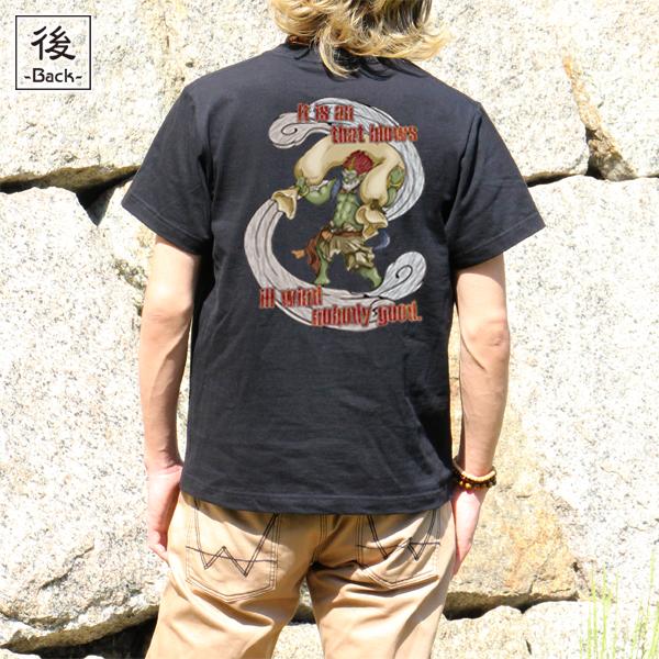 和柄,和柄服,むかしむかし,大きいサイズ,Tシャツ,キッズ,半袖,激風神