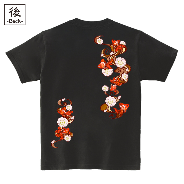 和柄,和柄服,むかしむかし,大きいサイズ,Tシャツ,レディース,半袖,桜流水金魚