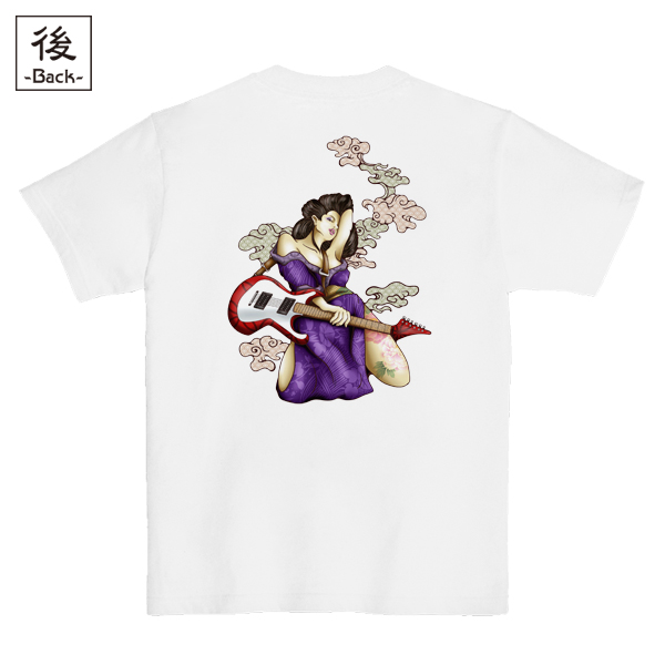 和柄,和柄服,むかしむかし,大きいサイズ,Tシャツ,レディース,半袖,ギター芸者