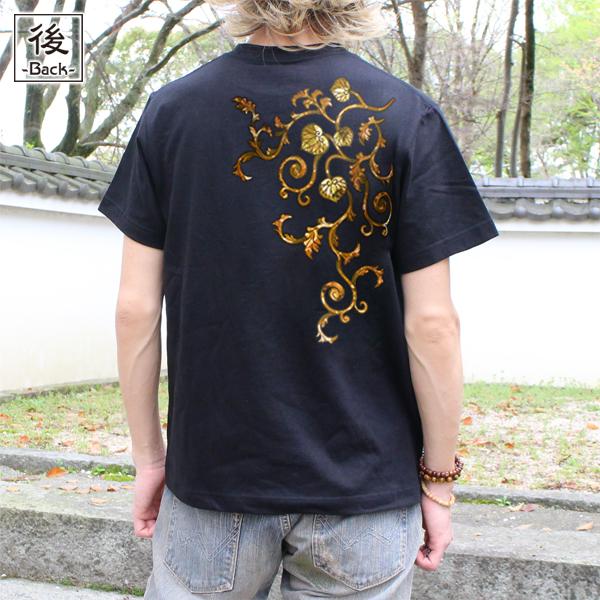 和柄,和柄服,むかしむかし,大きいサイズ,Tシャツ,キッズ,半袖,葵唐草(茶)