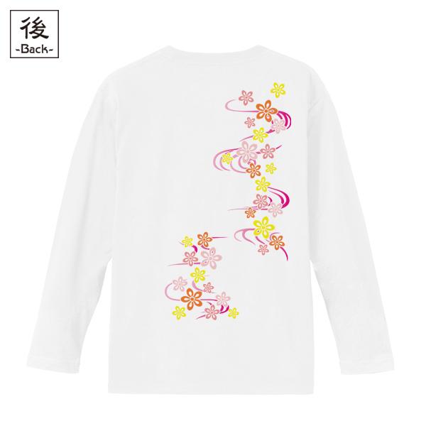 和柄,和柄服,むかしむかし,大きいサイズ,Tシャツ,キッズ,長袖,桜流水紋様