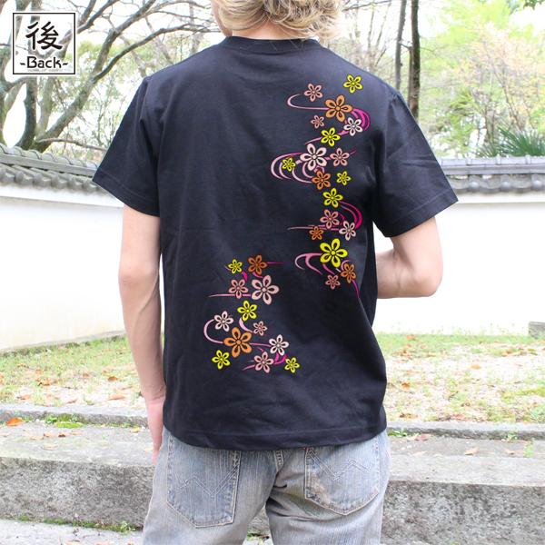和柄,和柄服,むかしむかし,大きいサイズ,Tシャツ,レディース,半袖,桜流水紋様