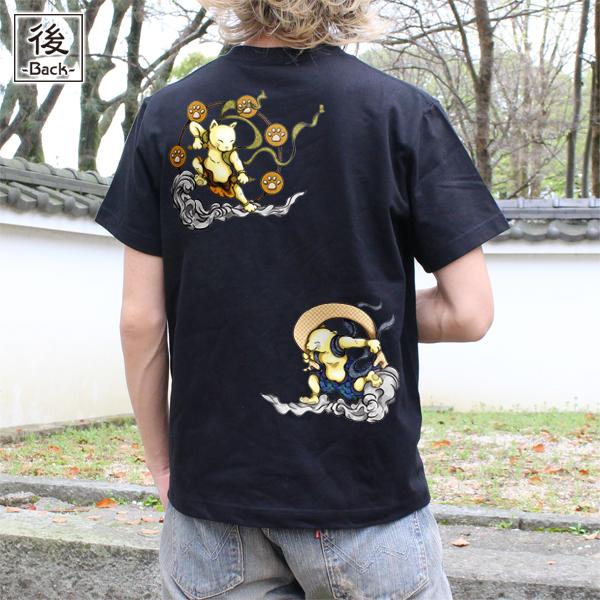 和柄,和柄服,むかしむかし,大きいサイズ,Tシャツ,レディース,半袖,猫風雷神