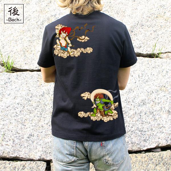 和柄,和柄服,むかしむかし,大きいサイズ,Tシャツ,メンズ,半袖,風神雷神