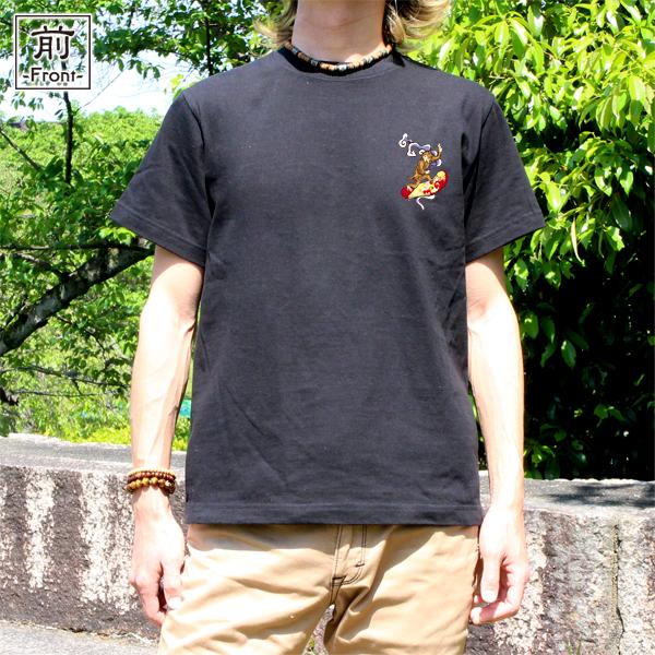 和柄,和柄服,むかしむかし,大きいサイズ,Tシャツ,キッズ,半袖,鳥獣戯画_波乗猿