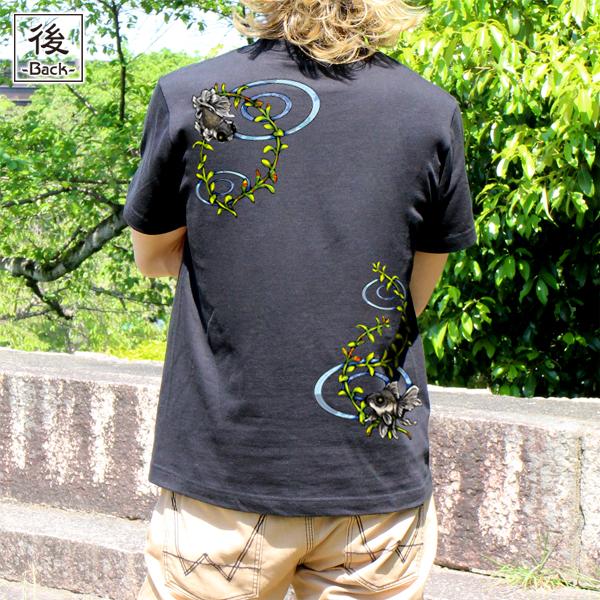 和柄,和柄服,むかしむかし,大きいサイズ,Tシャツ,レディース,半袖,波紋出目金