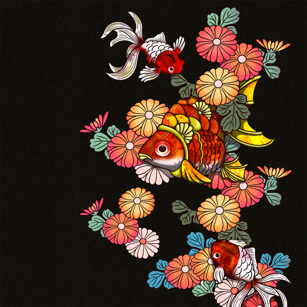 和柄,和柄服,むかしむかし,大きいサイズ,Tシャツ,キッズ,半袖,華紋様金魚