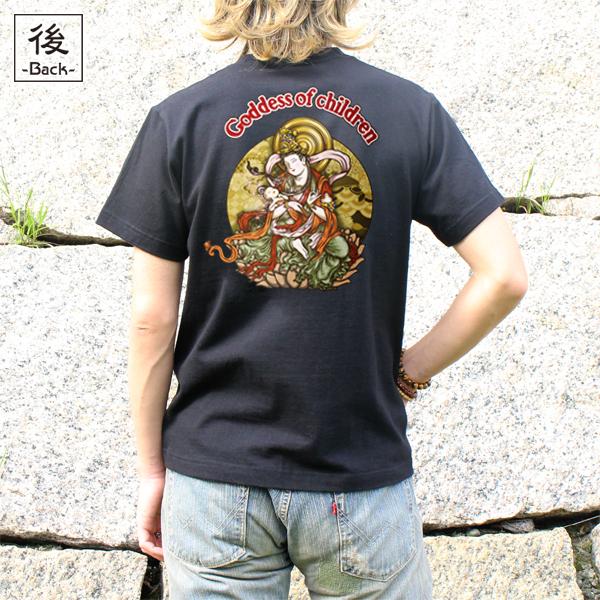和柄,和柄服,むかしむかし,大きいサイズ,Tシャツ,キッズ,半袖,鬼子母神