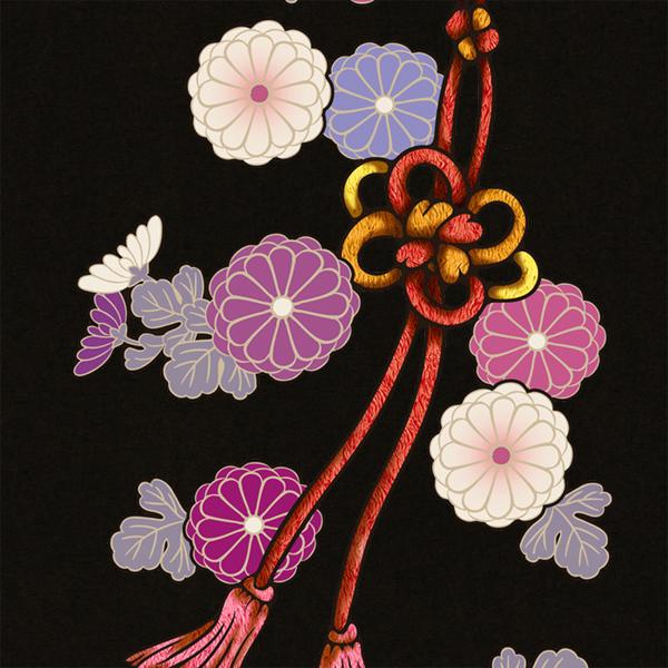 和柄,和柄服,むかしむかし,大きいサイズ,Tシャツ,キッズ,長袖,菊花組紐飾