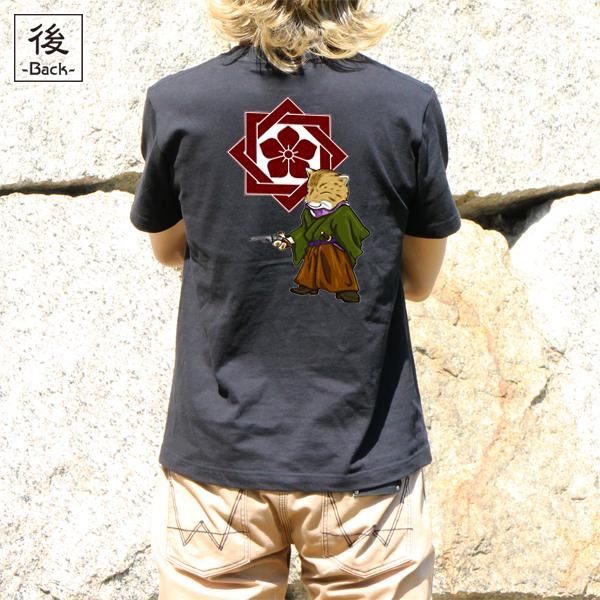 和柄,和柄服,むかしむかし,大きいサイズ,Tシャツ,キッズ,半袖,猫武士_龍馬