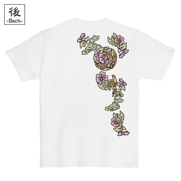 和柄,和柄服,むかしむかし,大きいサイズ,Tシャツ,メンズ,半袖,蛮絵花鳥紋様