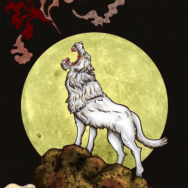 和柄,和柄服,むかしむかし,大きいサイズ,Tシャツ,キッズ,長袖,月夜狼