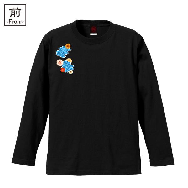 和柄,和柄服,むかしむかし,大きいサイズ,Tシャツ,メンズ,長袖,波扇花紋様