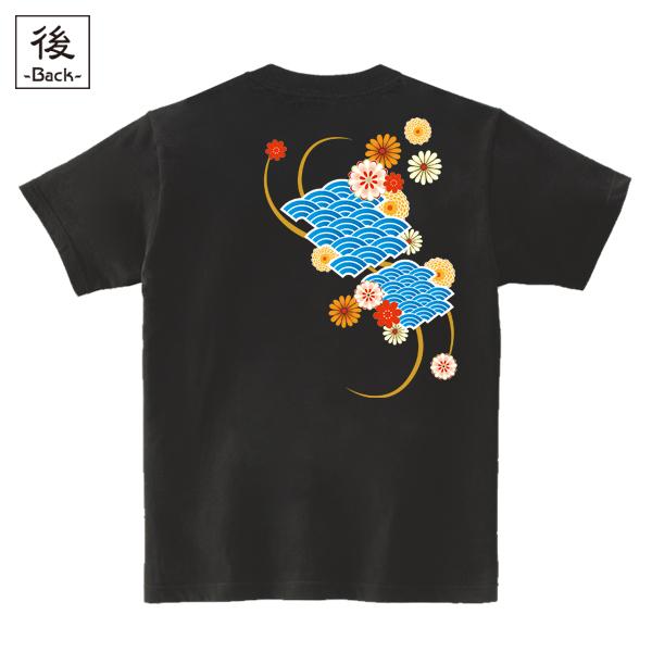 和柄,和柄服,むかしむかし,大きいサイズ,Tシャツ,レディース,半袖,波扇花紋様