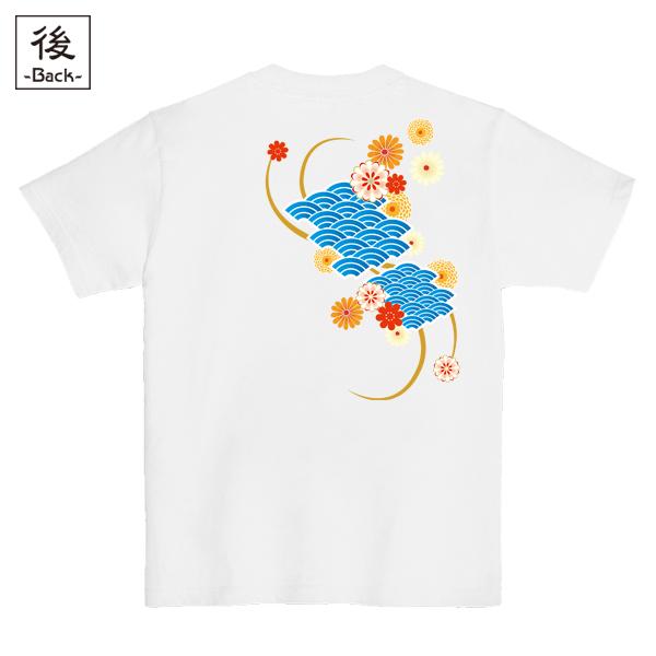 和柄,和柄服,むかしむかし,大きいサイズ,Tシャツ,メンズ,半袖,波扇花紋様