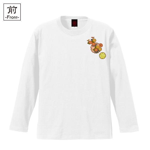 和柄,和柄服,むかしむかし,大きいサイズ,Tシャツ,キッズ,長袖,雪輪季節花紋