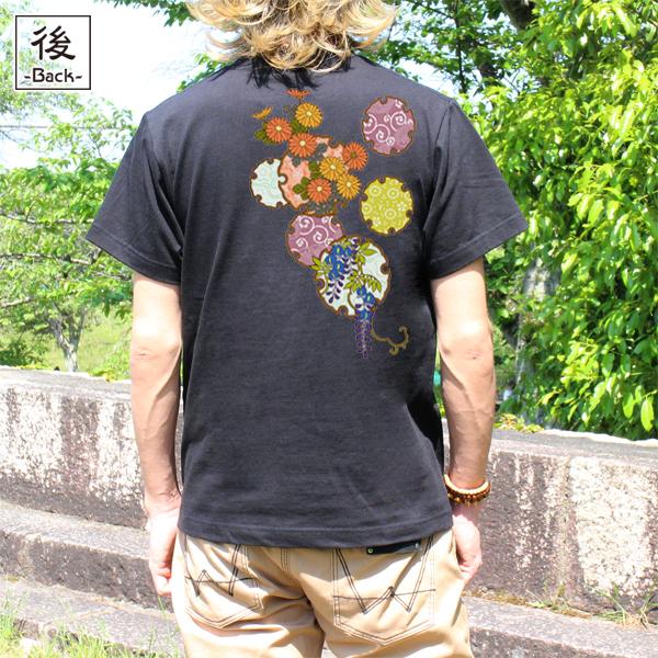 和柄,和柄服,むかしむかし,大きいサイズ,Tシャツ,レディース,半袖,雪輪季節花紋