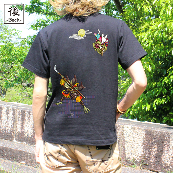 和柄,和柄服,むかしむかし,大きいサイズ,Tシャツ,キッズ,半袖,鳥獣戯画_弁慶と牛若