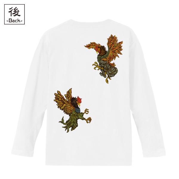 和柄,和柄服,むかしむかし,大きいサイズ,Tシャツ,キッズ,長袖,闘鷄炎舞