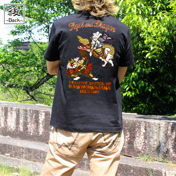 和柄,和柄服,むかしむかし,大きいサイズ,Tシャツ,メンズ,半袖,猫武将_決戦川中島