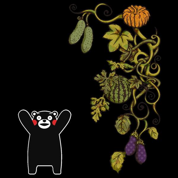 和柄,和柄服,むかしむかし,大きいサイズ,Tシャツ,メンズ,半袖,熊本野菜唐草(くまモン版)