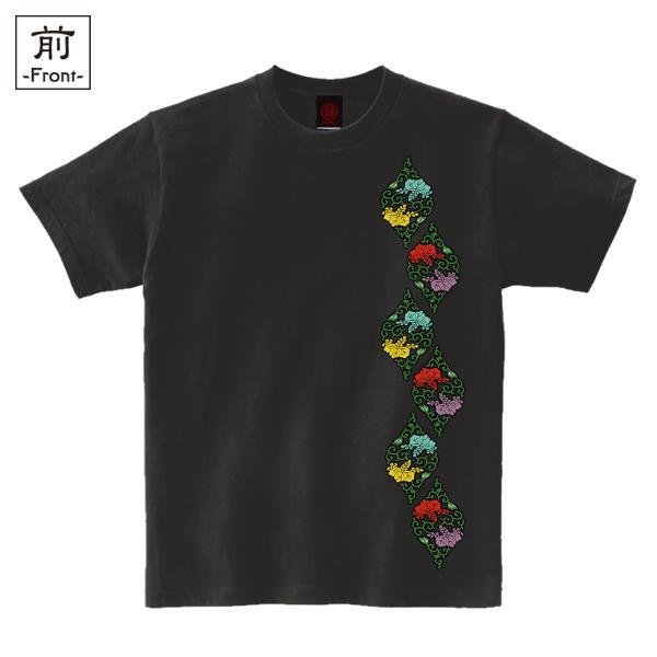 和柄,和柄服,むかしむかし,大きいサイズ,Tシャツ,キッズ,半袖,桐唐草立涌