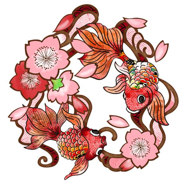 和柄,和柄服,むかしむかし,大きいサイズ,Tシャツ,キッズ,長袖,桜金魚