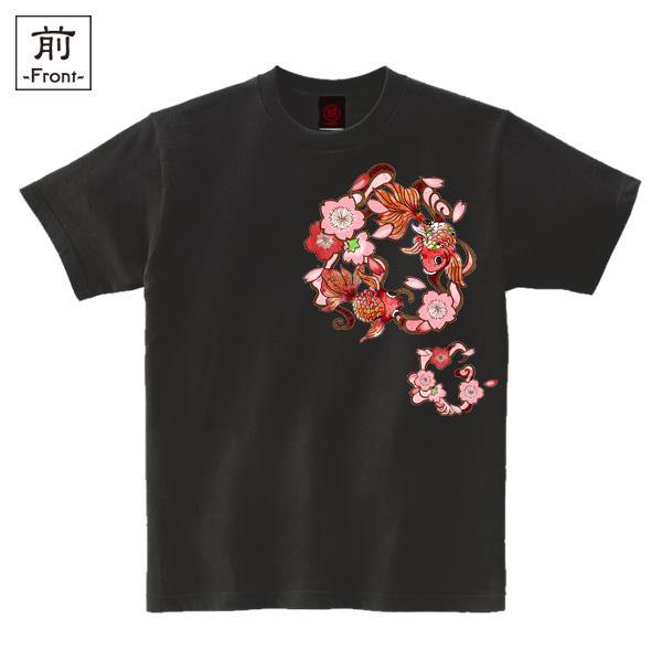 和柄,和柄服,むかしむかし,大きいサイズ,Tシャツ,キッズ,半袖,桜金魚