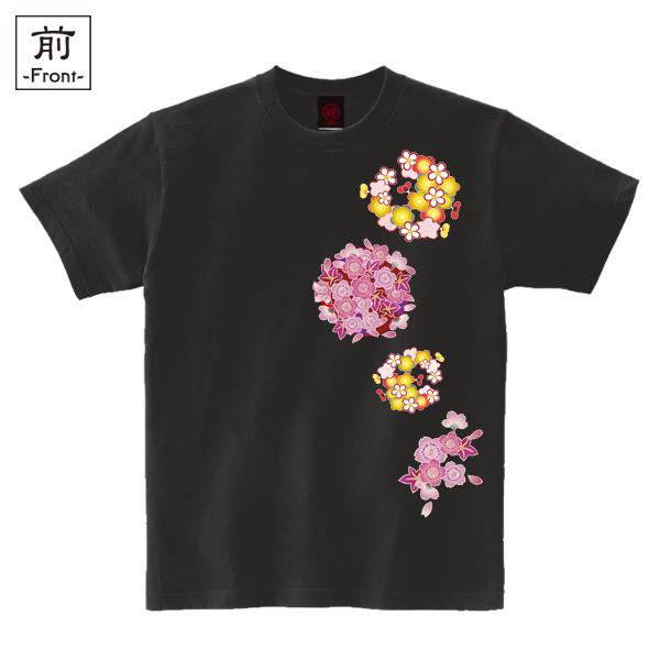 和柄,和柄服,むかしむかし,大きいサイズ,Tシャツ,キッズ,半袖,春花丸紋様