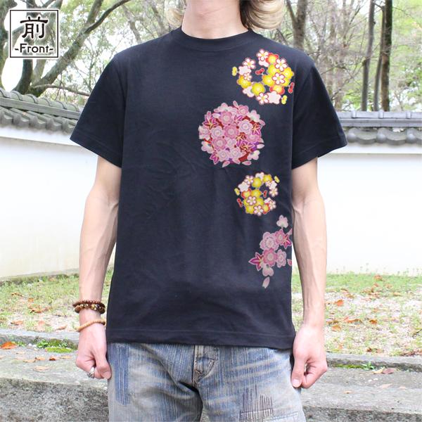 和柄,和柄服,むかしむかし,大きいサイズ,Tシャツ,メンズ,半袖,春花丸紋様
