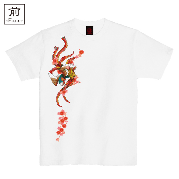 和柄,和柄服,むかしむかし,大きいサイズ,Tシャツ,レディース,半袖,吉祥桜鳳凰